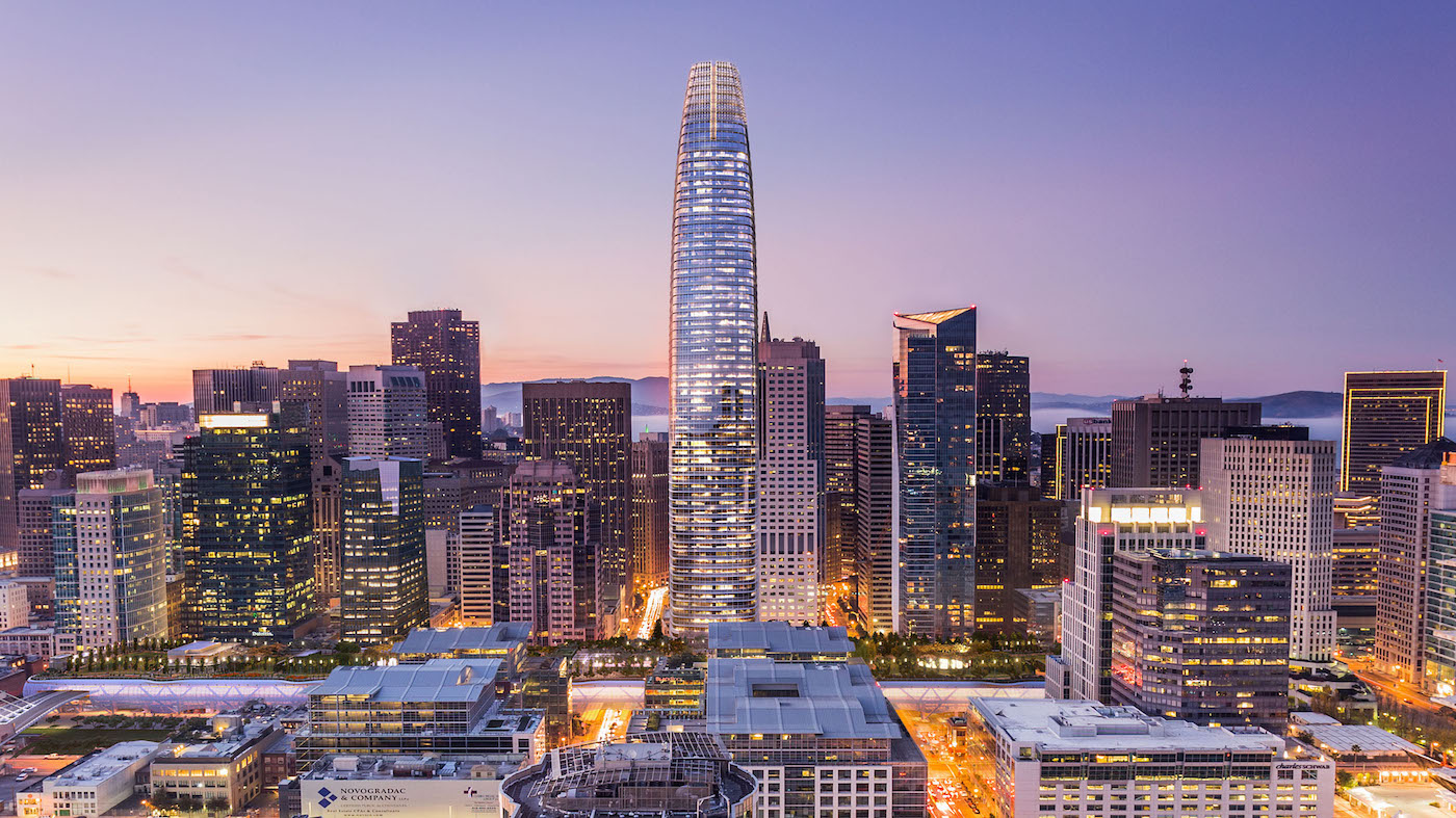 Artistic depiction Salesforce Tower, San Francisco, Pelli Clarke Pelli Architect