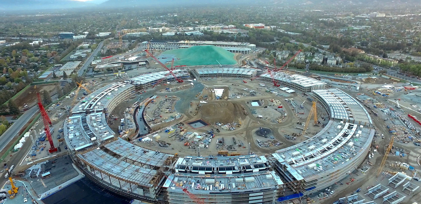Aerial Views Reveal Construction Progress at New Apple