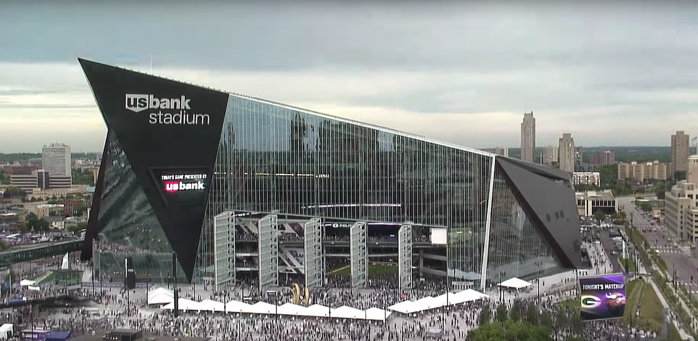 The enormous pivoting doors open up on game day image via EarthCam. \  & Time-Lapse Video Captures Scale of U.S. Bank Stadium | SkyriseCities