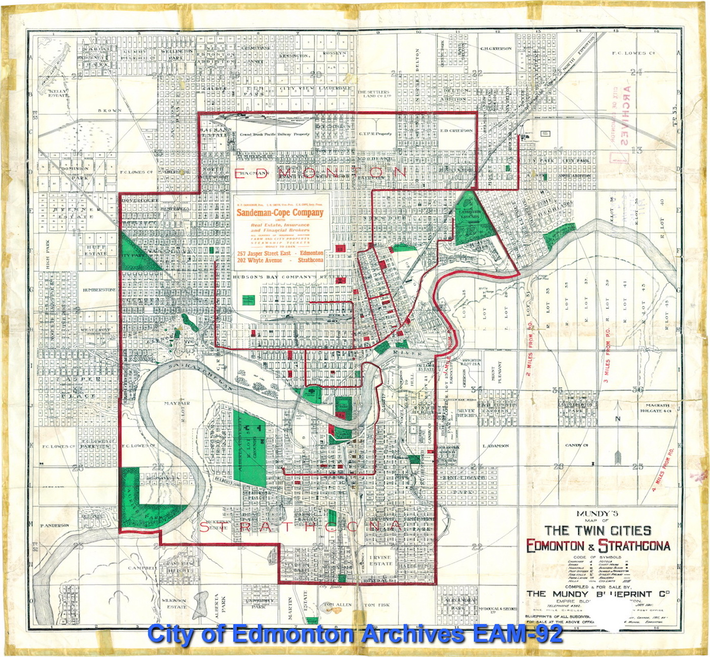 40 years of service aboard the edmonton radial railway skyriseedmonton 1911 city map streetcar lines in red image via the city of edmonton archives malvernweather Images