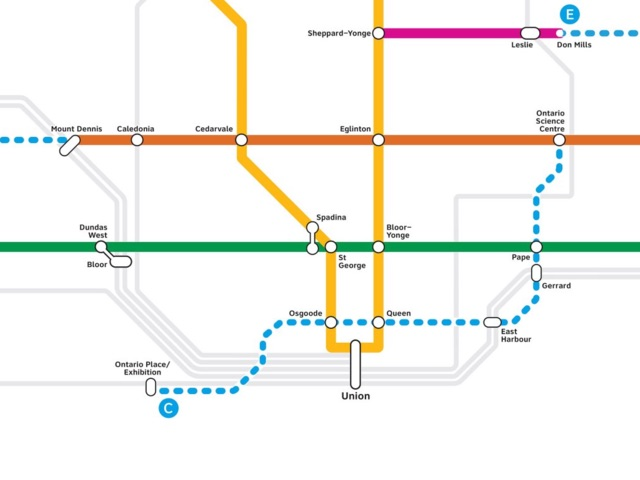 Toronto Subway Map Print.Ontario Government Lines Up New Toronto Transit Plan Urbantoronto