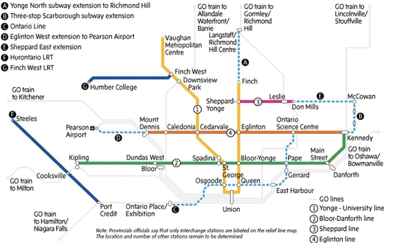 Toronto Subway Map Print.Waiting For Details Federal Funding Of Ontario Line In Question
