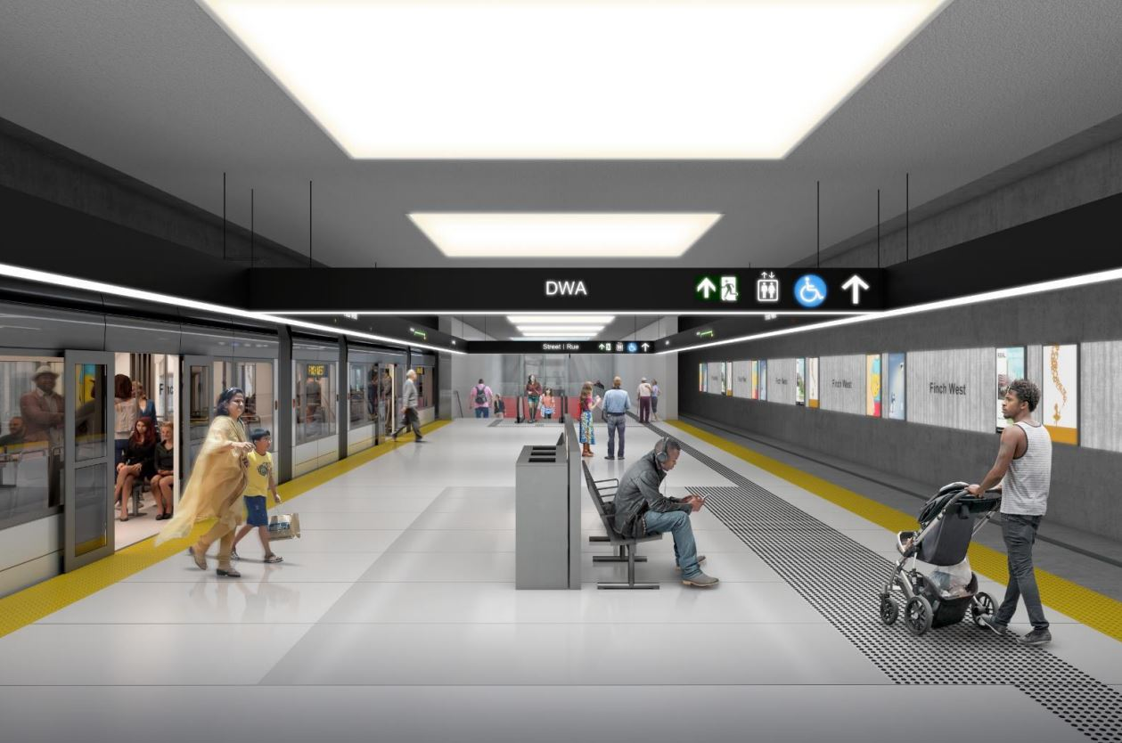 Looking east along the LRT platform at Finch West station, image via submission