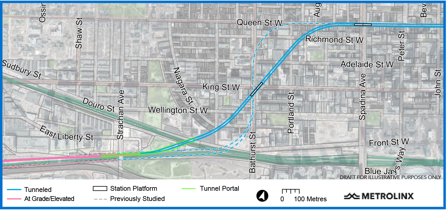 Map of the western segment of the future Ontario Line