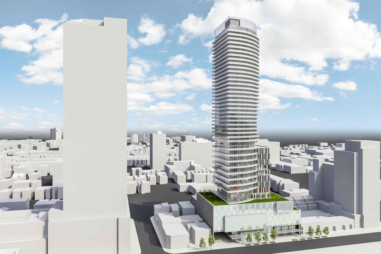 Looking east to the original Grand Hotel redevelopment proposal, image by Core Architects
