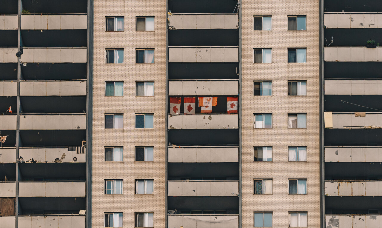 Daily Photo, Toronto, apartment building, tower Canadian flags, Downtown