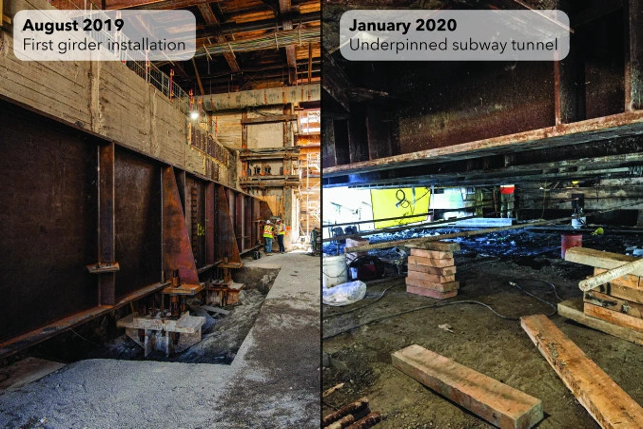 Construction progress at Cedarvale Station, Toronto