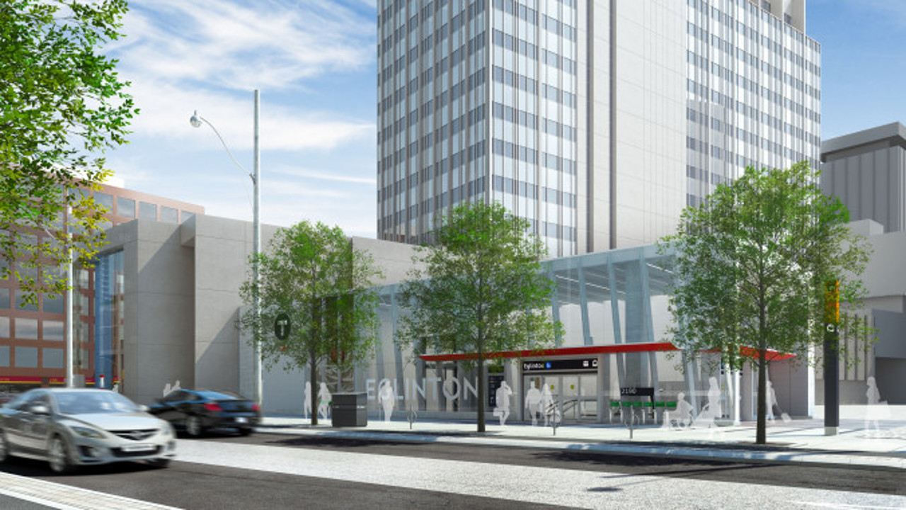 Rendering of the future station entrance on the southwest corner of Yonge and Eglinton