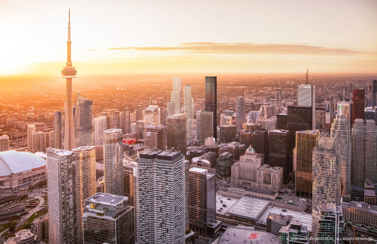 Looking northwest to 212 King Street West among Toronto's Financial Core skyscrapers, image by SHoP Architects courtesy of Dream Office REIT