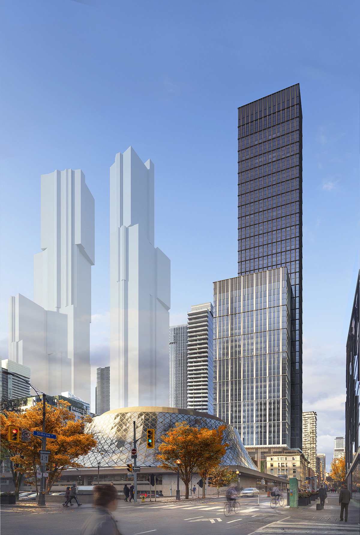 Looking northwest to 212 King Street West, Toronto, image by SHoP Architects courtesy of Dream Office REIT