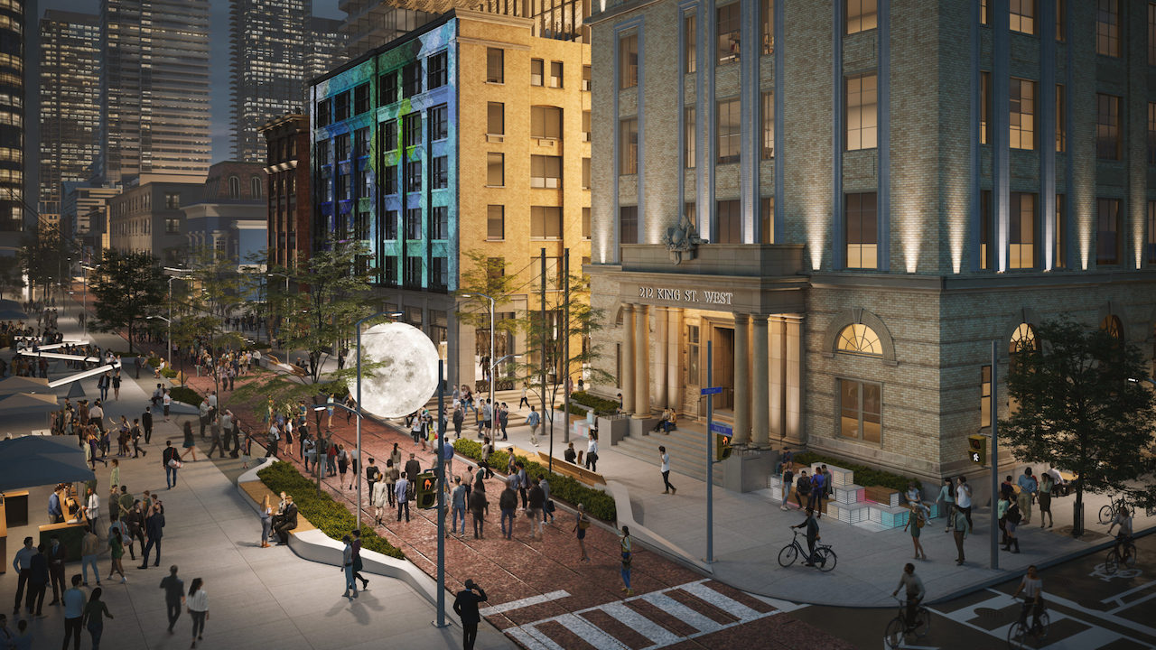 Proposed public realm outside 212 King Street West, Toronto, image by Norm Li courtesy of Dream Office REIT