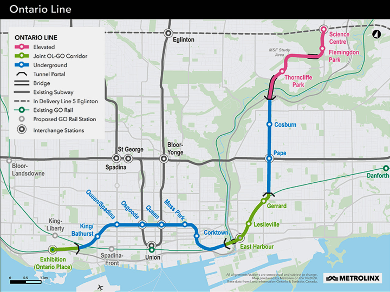 Map of the future Ontario Line