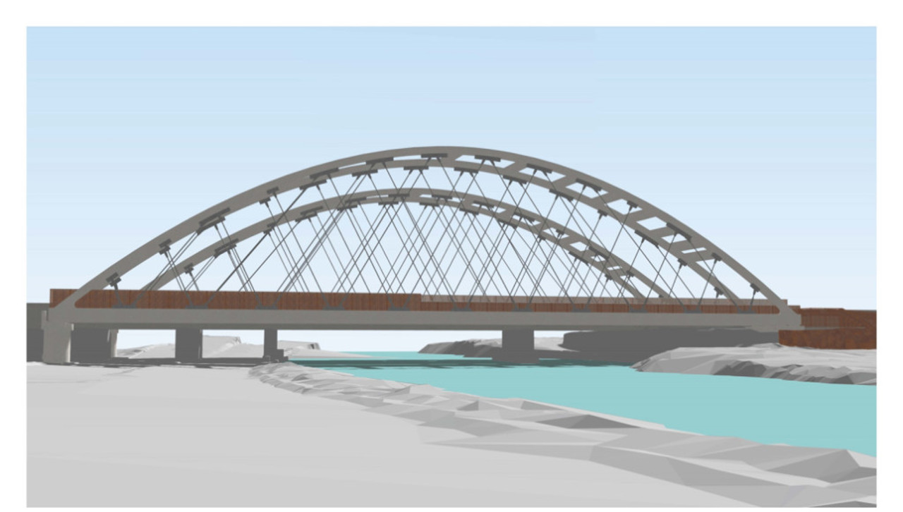 Rendering of future Ontario Line bridges over the Don River south of Eastern Avenue