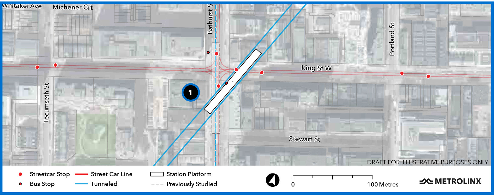 Map of the future King - Bathurst Station