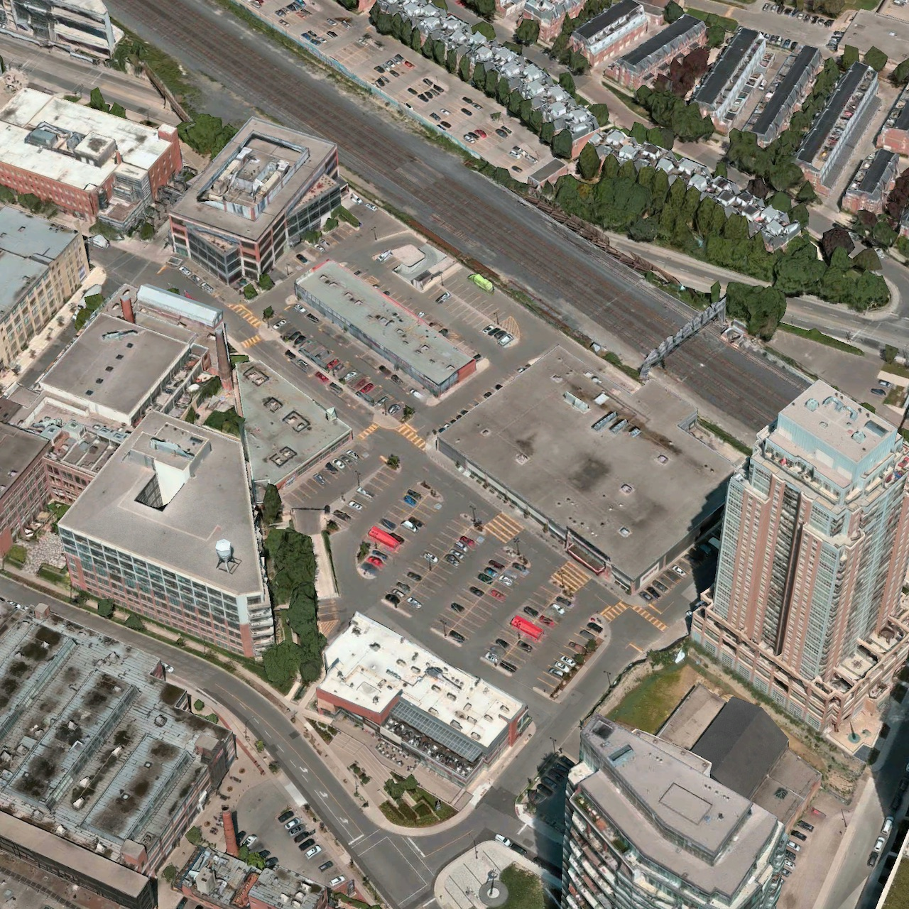 Looking across the Shops at King Liberty plaza area in Toronto, image via Apple Maps