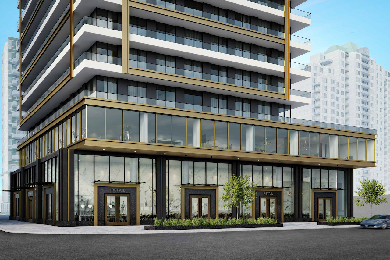 Looking southeast to 5205 Yonge, Toronto, designed by IBI Group for Inmino Developments