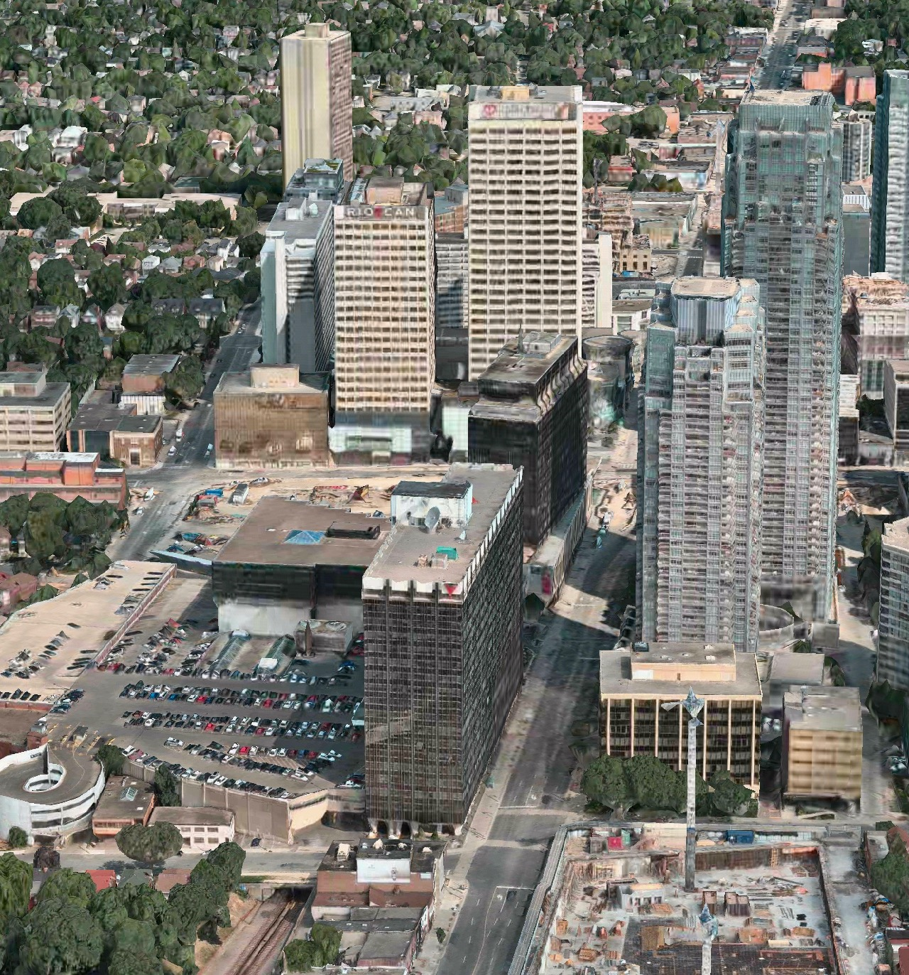 Looking north toward the existing Canada Square buildings along Yonge, image via Apple Maps
