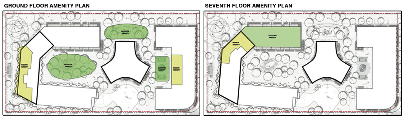 Ground Floor and Seventh Floor Amenity Plans, image via submission to City of Toronto