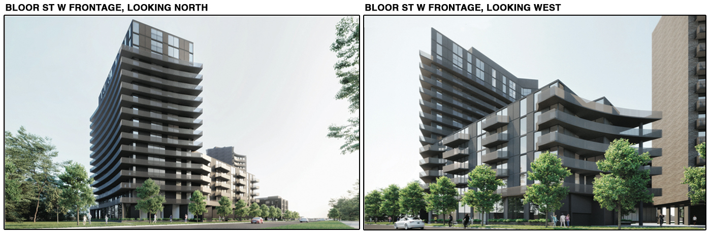 View from Bloor Street West looking north (left) and west (right), image via submission to City of Toronto