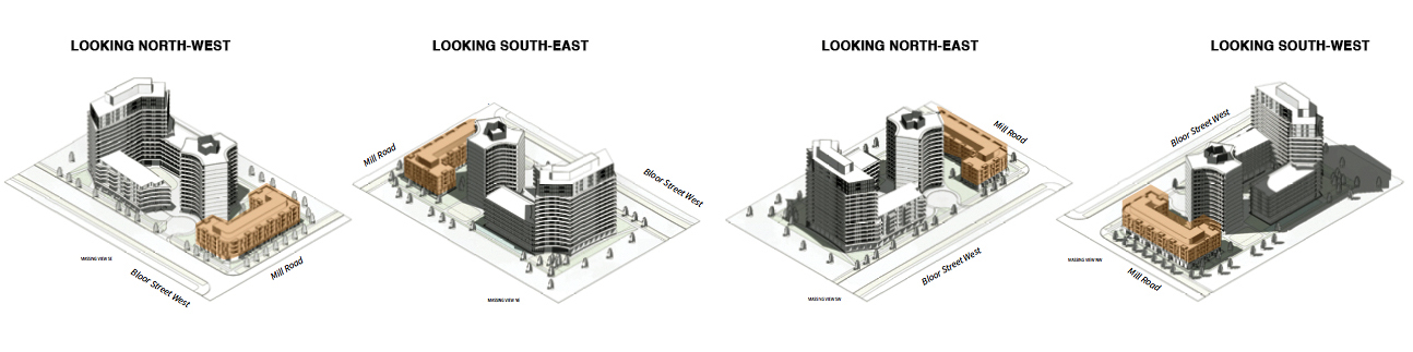 Massing model of east building, image via submission to City of Toronto