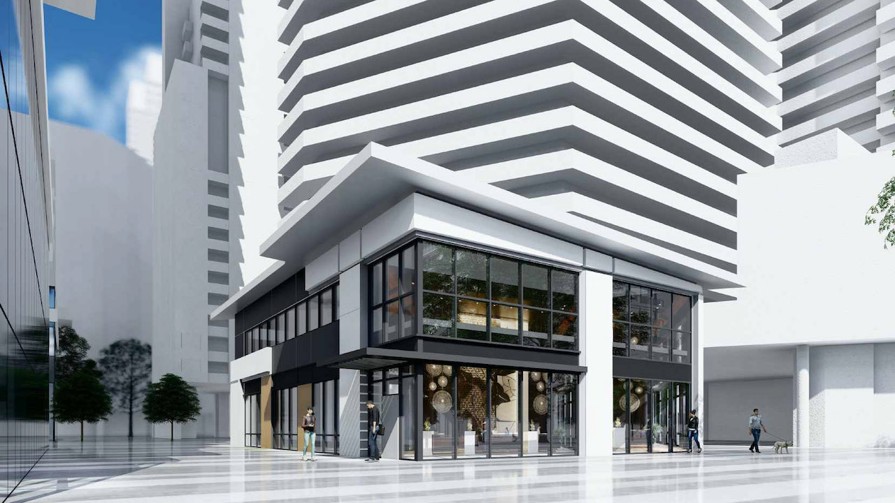 Looking southeast to the proposed retail pavilion at 400 Front West, Toronto, designed by Kirkor Architects.