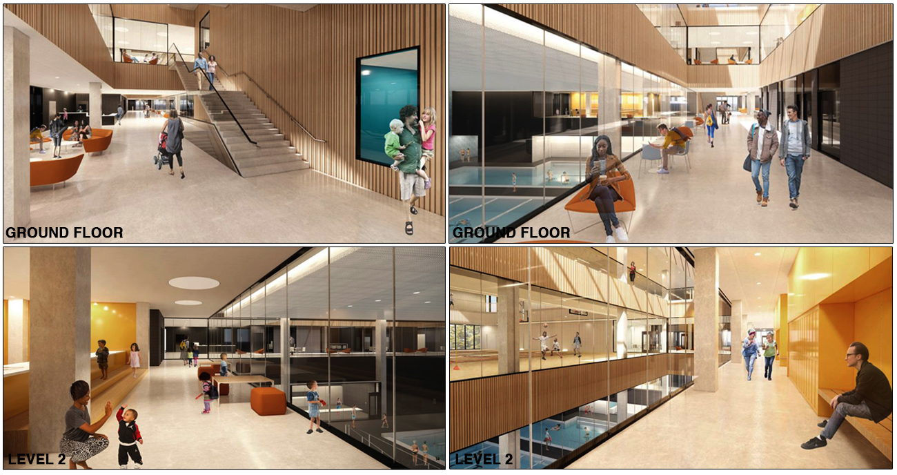 Renderings of Ground Floor and Level 1 lobby areas, image via submission to City of Toronto
