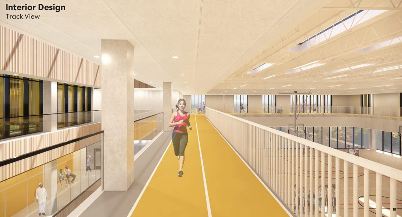 Rendering of Third Floor indoor running track, image via submission to City of Toronto