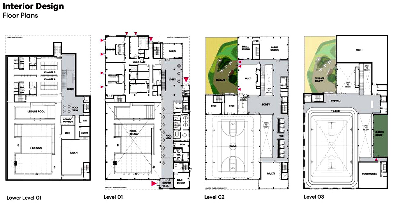 North East Scarborough Community Centre Floor Plans, image via submission to City of Toronto