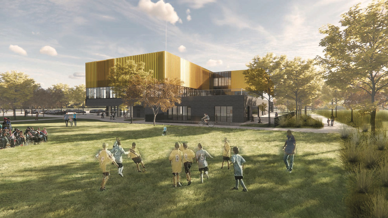 View from MiniSoccer to the Northeast Scarborough Community Centre, designed by Perkins and Will for the City of Toronto