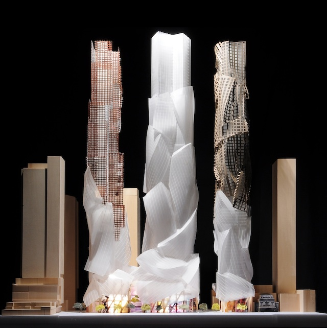 Looking north to the June, 2013 model for Mirvish+Gehry Toronto, designed by Gehry Partners for Projectcore