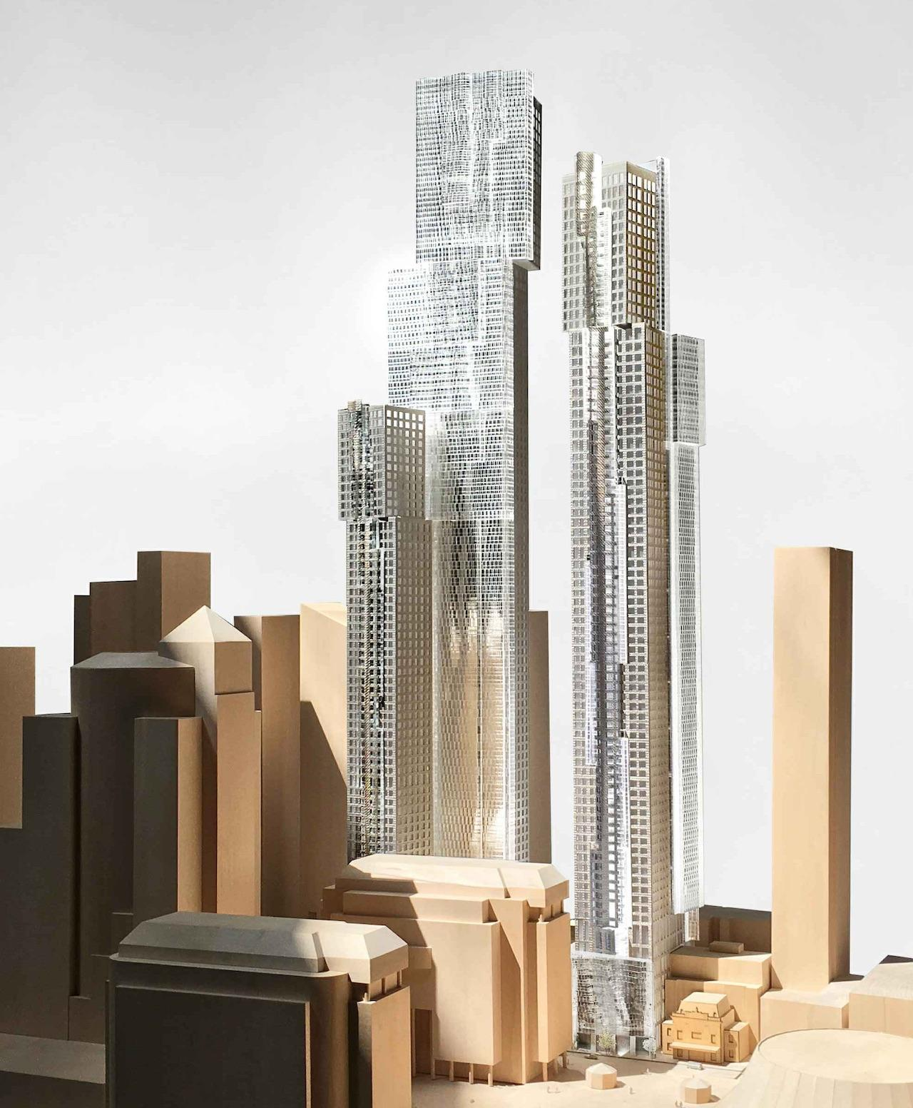 Looking northwest to the December, 2018 model for Mirvish+Gehry Toronto, designed by Gehry Partners for Projectcore