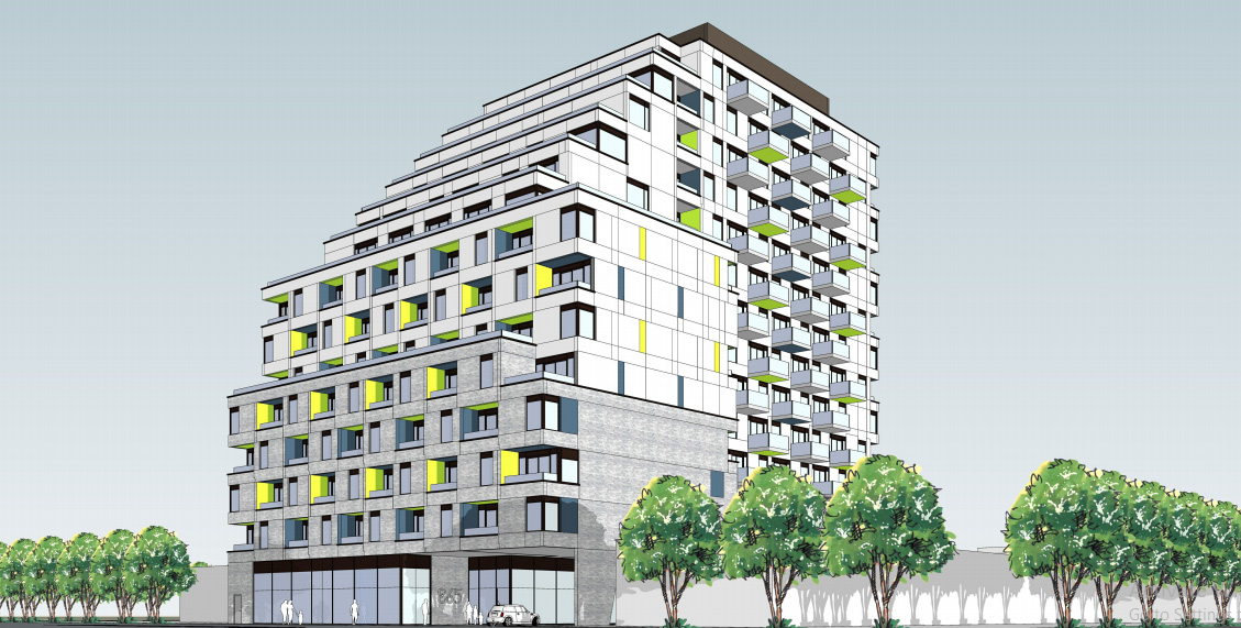 875 The Queensway, Toronto, designed by KFA Architects + Planners Inc. for Format Queensway Limited Partnership.