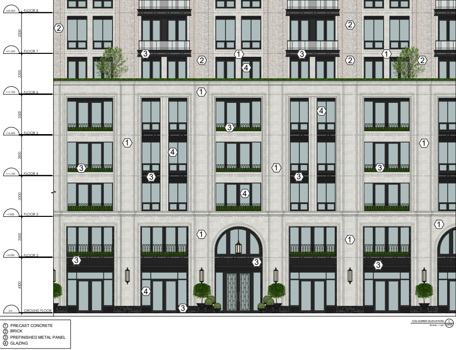 Elevation of 3180 Yonge Street, designed by Richard Wengle Architect for NYX Capital