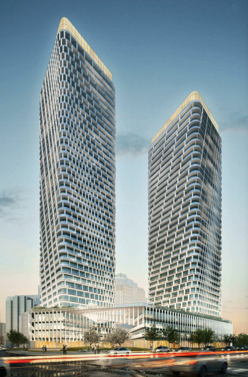 December, 2019 proposal for 5 Corporate Drive, Toronto, designed by WZMH Architects for Kevric