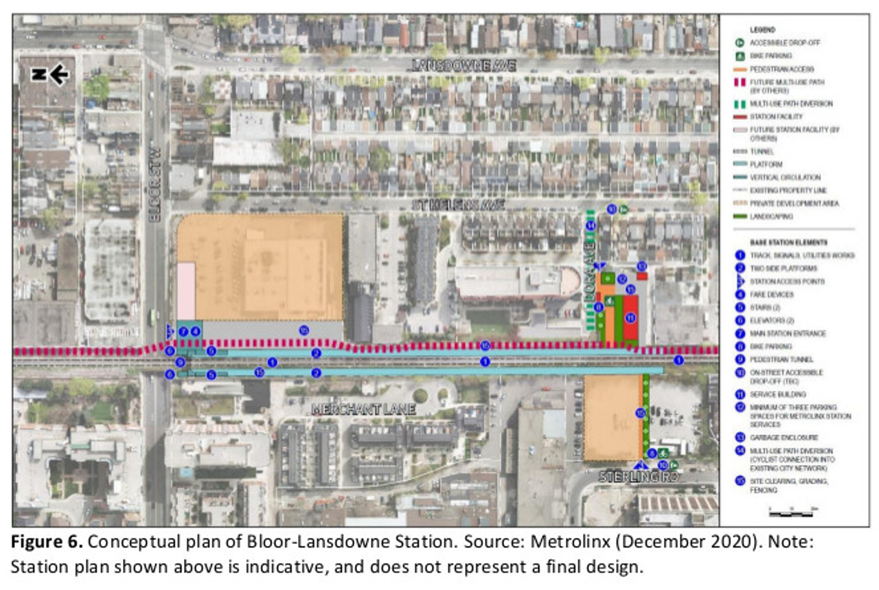 Map of the future Bloor - Lansdowne GO Station.