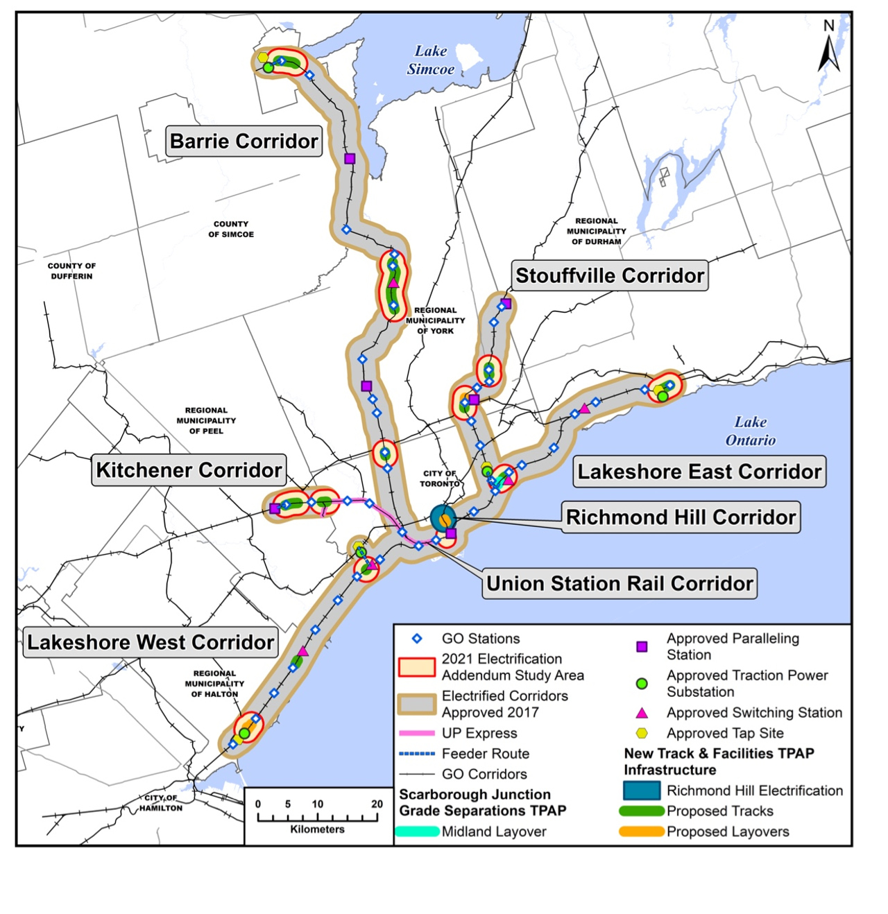 Map of the proposed electric GO train corridors