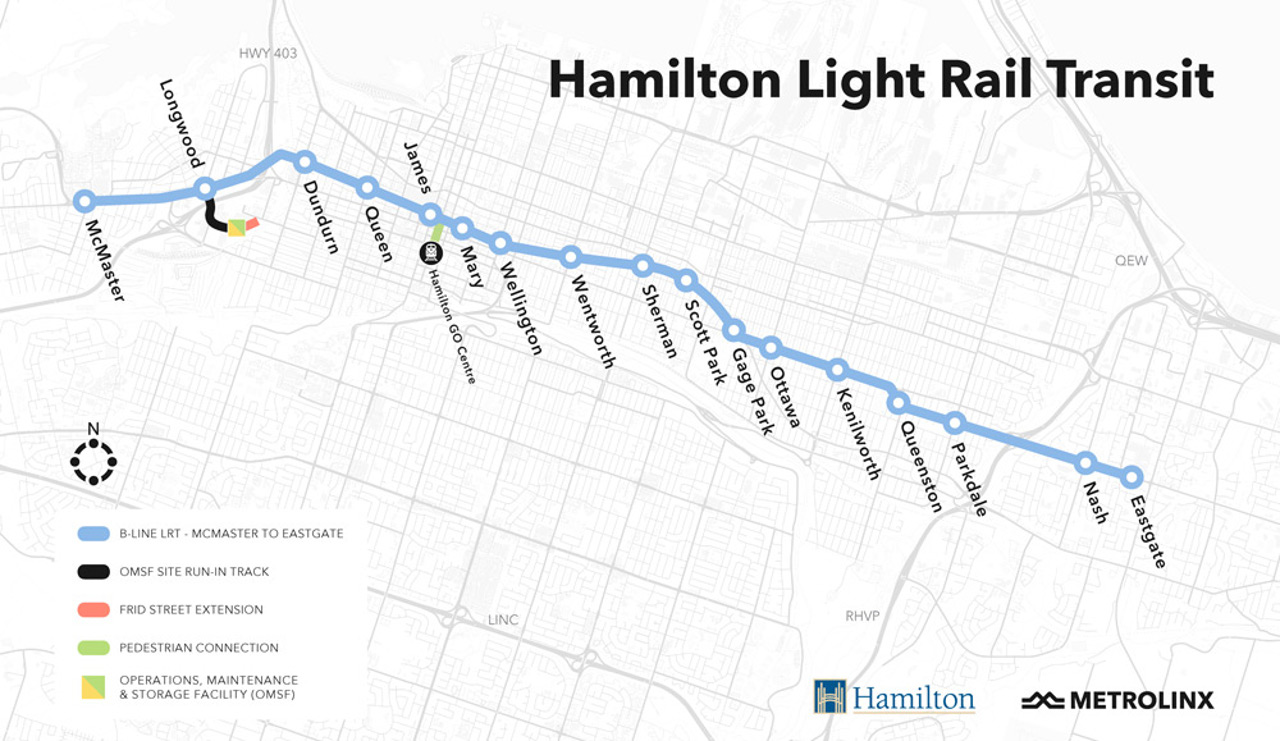 Map of the proposed Hamilton LRT