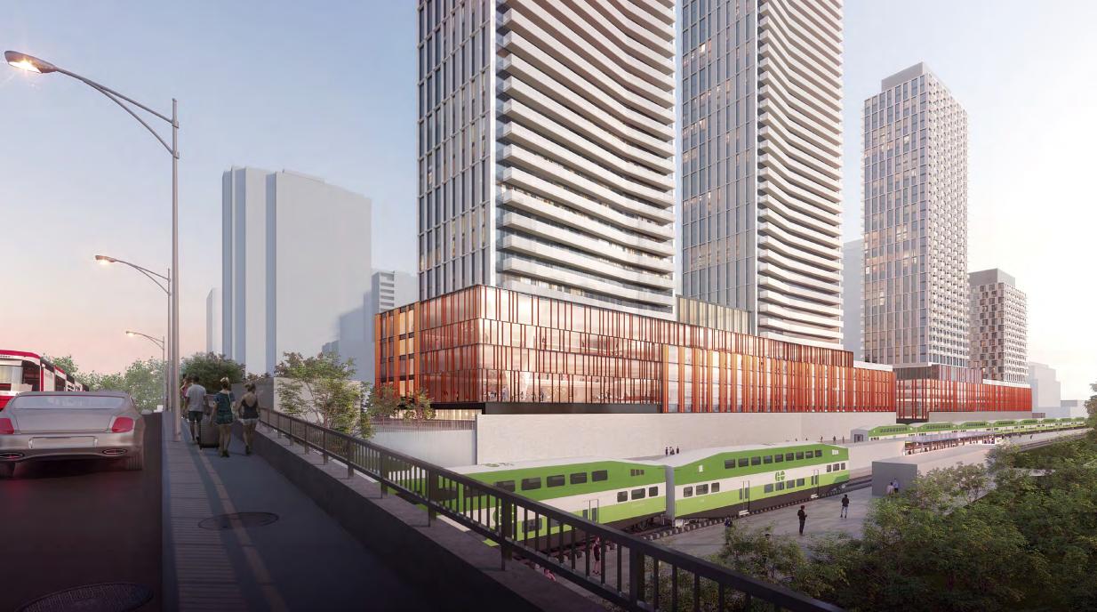 New Artist Rendering of GO Transit Corridor, 6 Dawes Avenue, Quadrangle