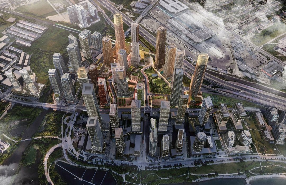 Looking northwest to the 2150 Lake Shore development, Toronto, image by Allies and Morrison for First Capital