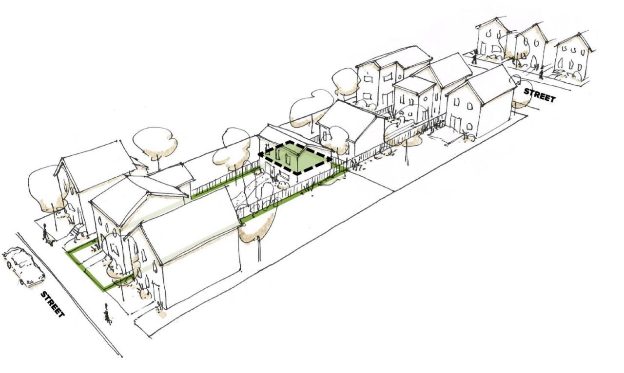 Garden Suite Sketch, Lanescape, Toronto