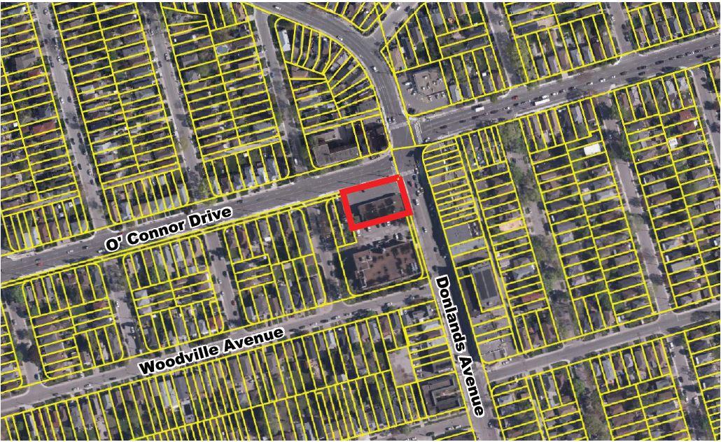 Satellite View of Subject Site, 380 Donlands, Toronto