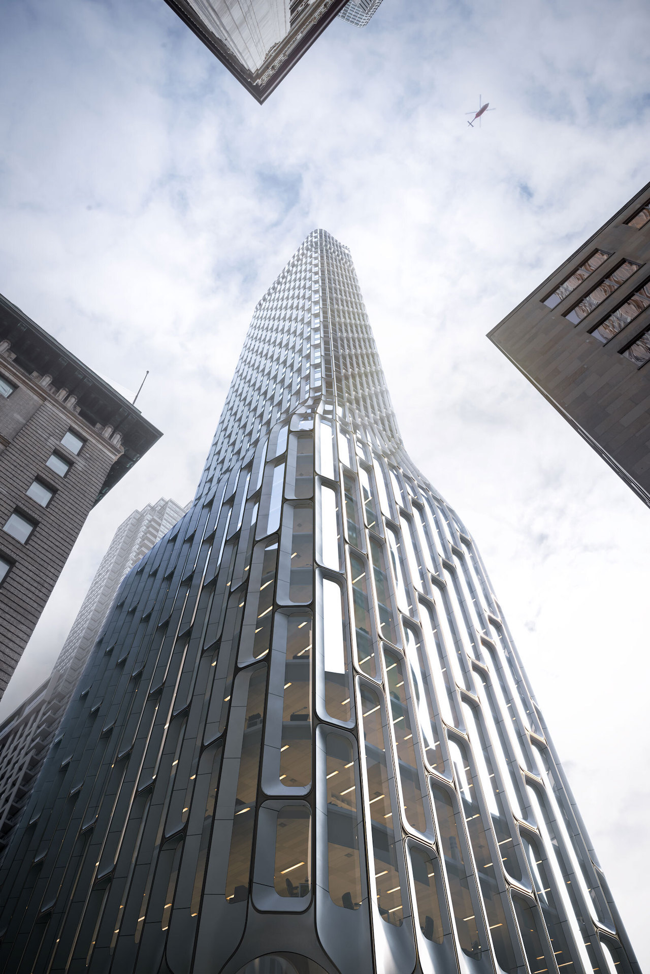 Looking southeast up to 55 Yonge Street, Toronto, designed by PARTISANS and BDP Quadrangle for H&R REIT