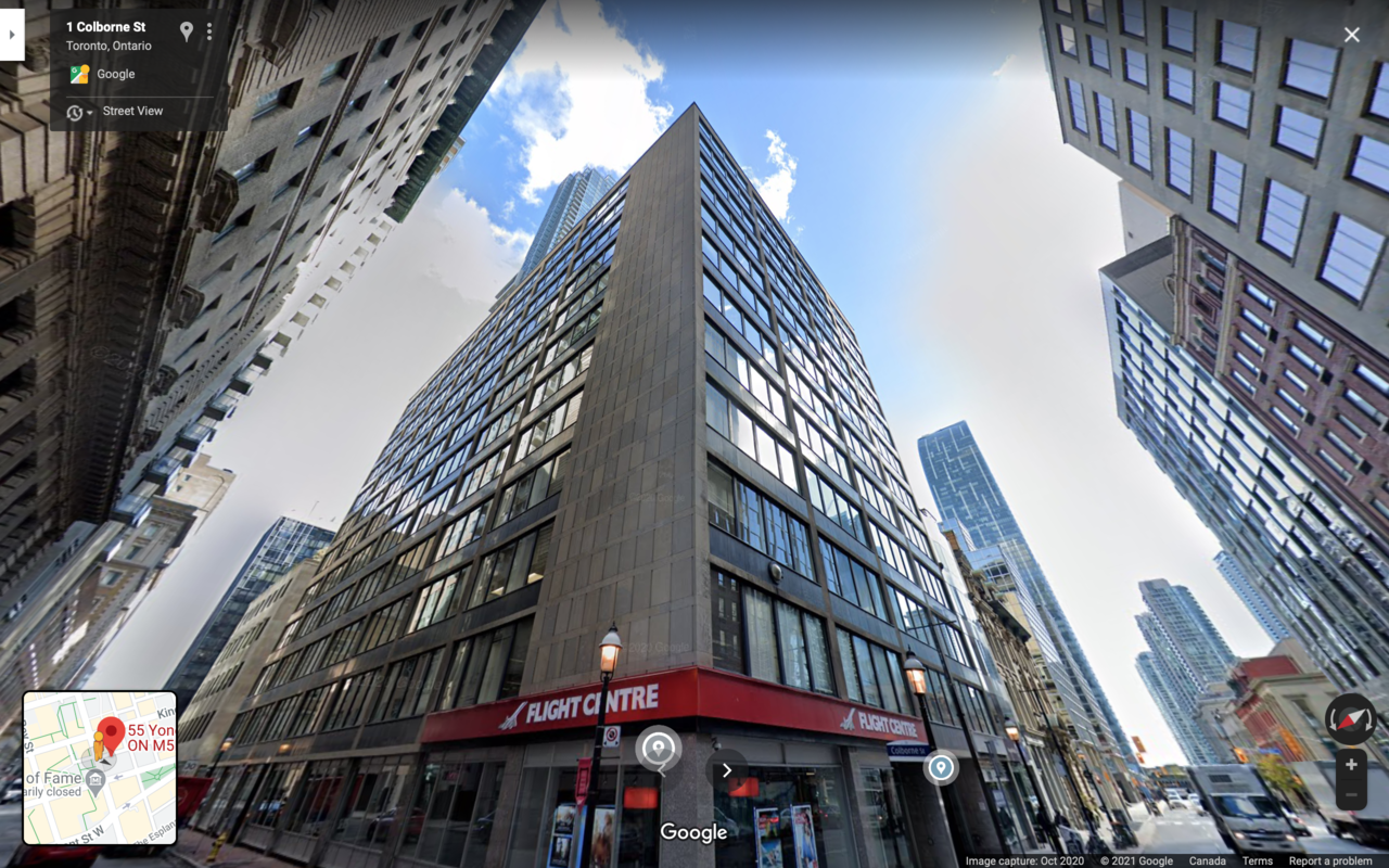Looking southeast to 55 Yonge Street, Toronto, image retrieved from Google Street View