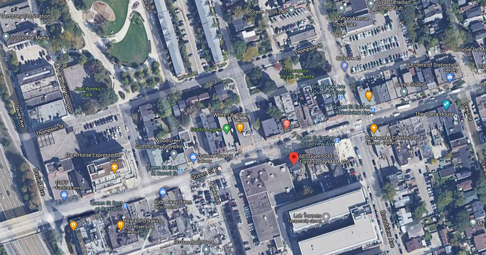 Satelite View of Site, 685 Queen St E, City of Toronto