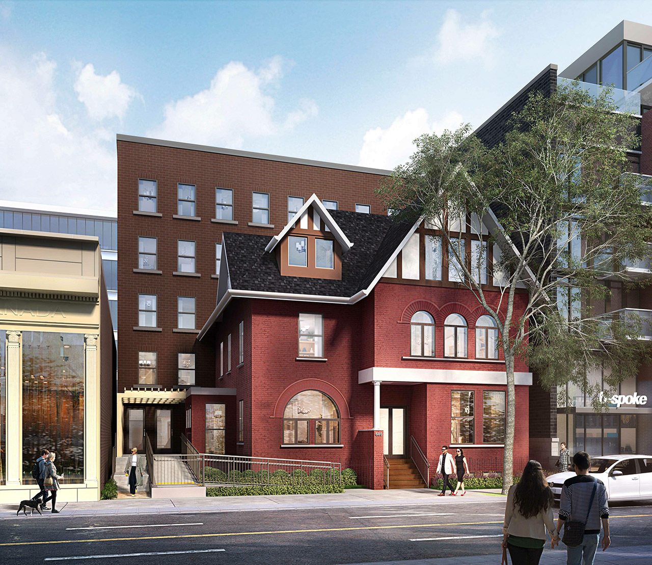 Revised Design, 685 Queen Street East, Toronto, designed by Kirkor Architects Planners for Streetcar Developments