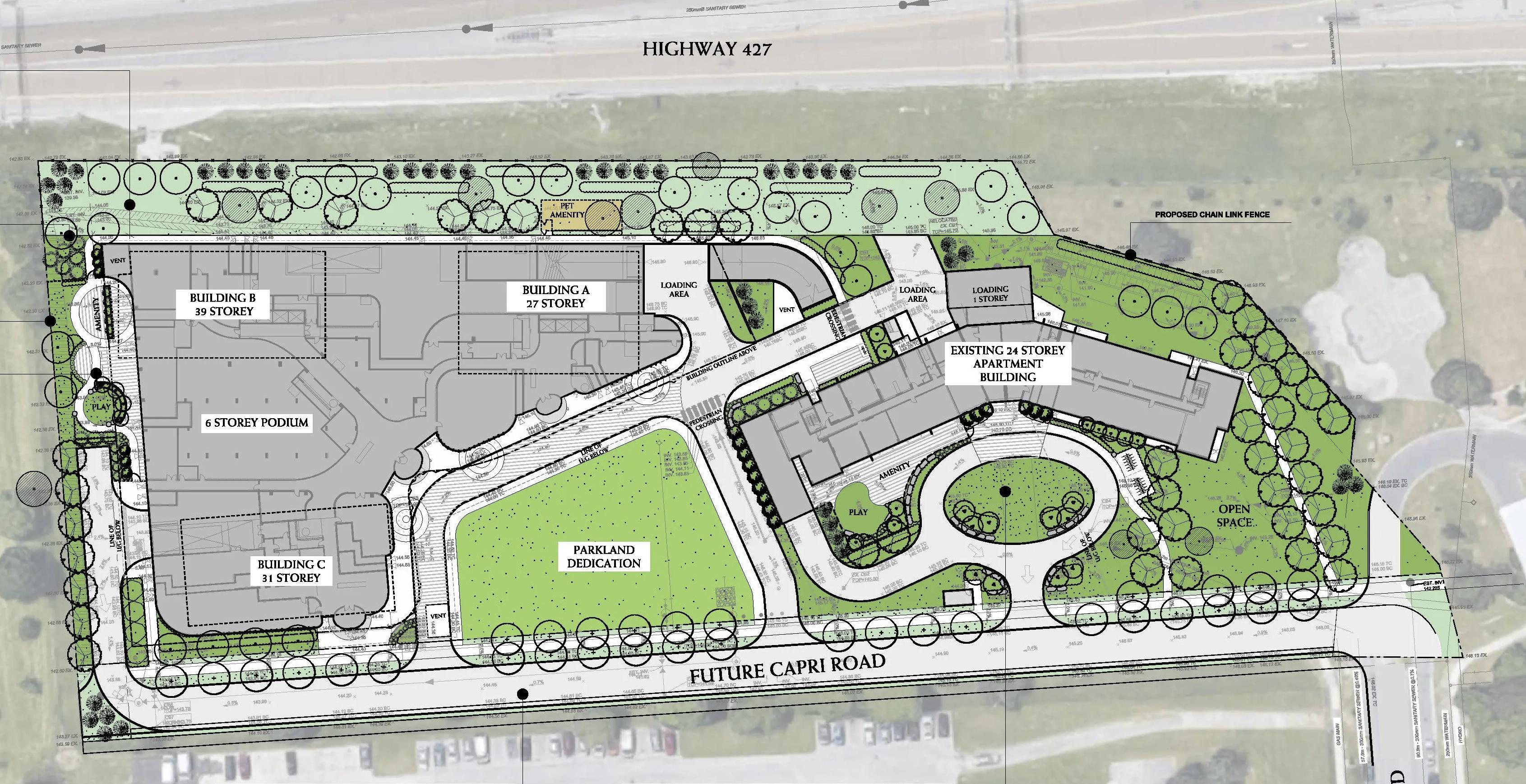 Site Plan, 5 Capri Road, Etobicoke, Toronto, designed by BDP Quadrangle for Tenblock