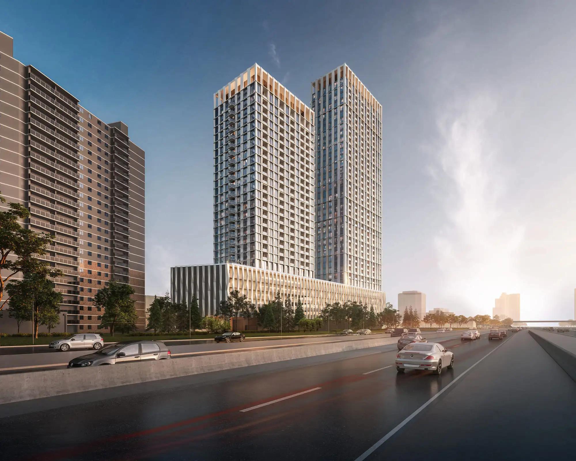 Looking southeast to 5 Capri Road, Etobicoke, Toronto, designed by BDP Quadrangle for Tenblock