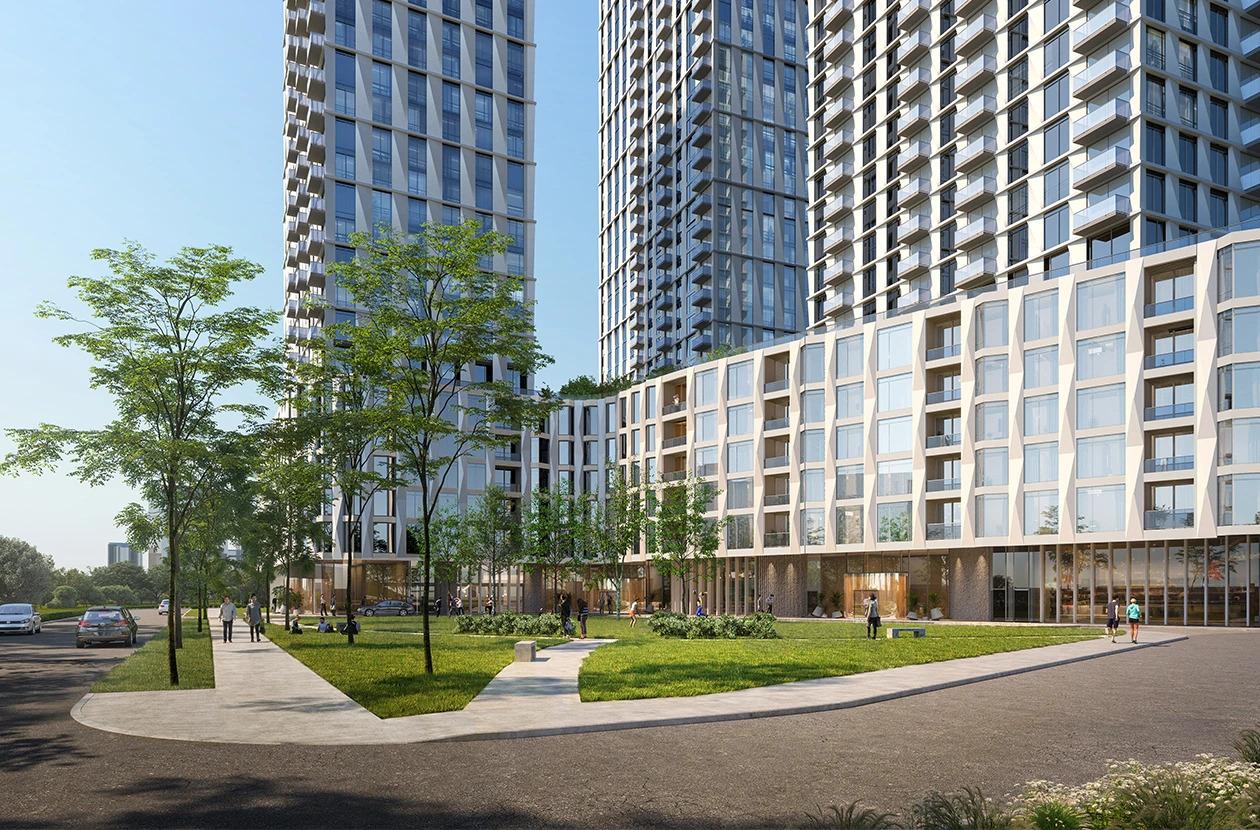 Ground realm at 5 Capri Road, Etobicoke, Toronto, designed by BDP Quadrangle for Tenblock