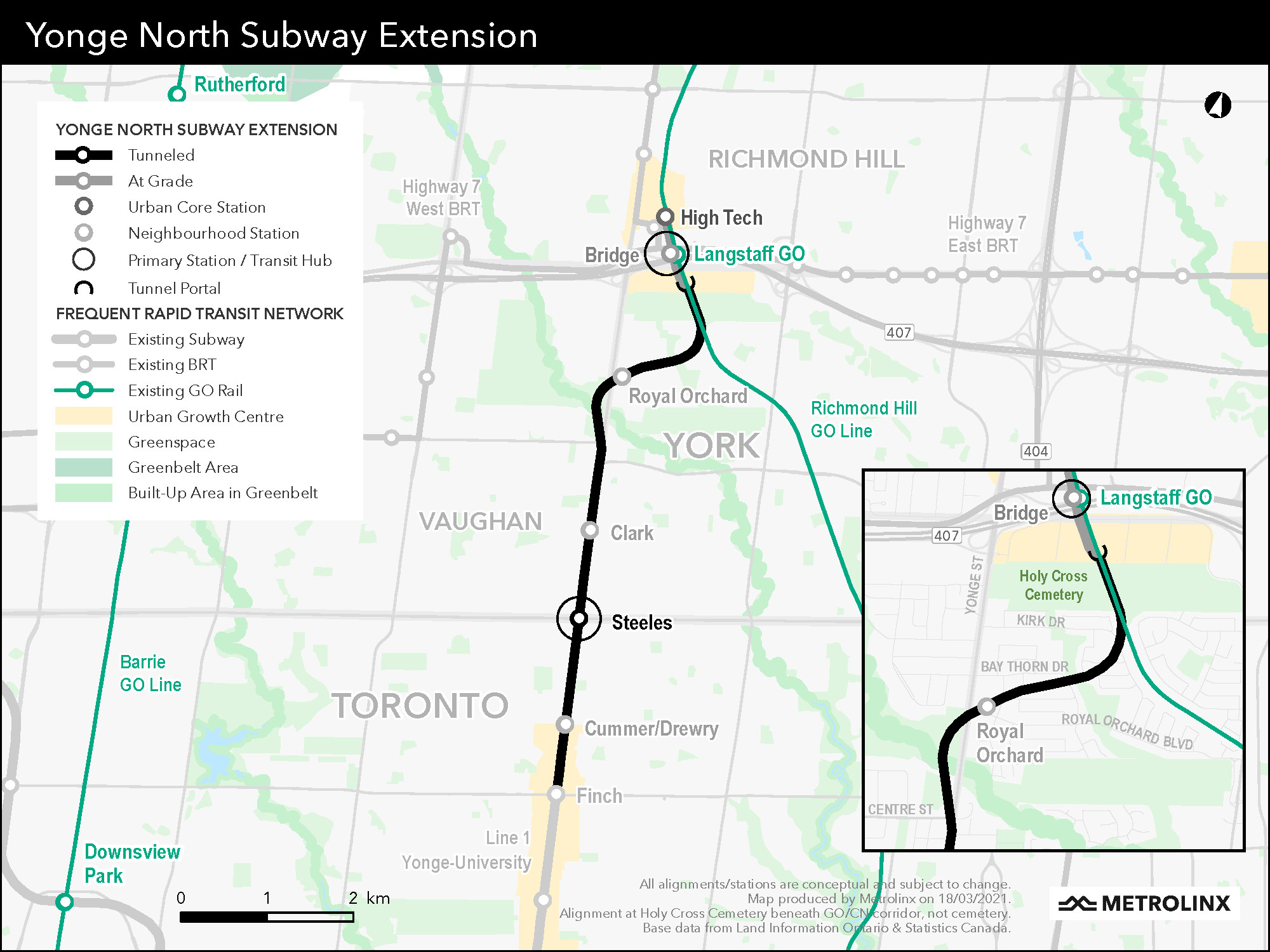 Map of the proposed new alignment for the Yonge North subway extension