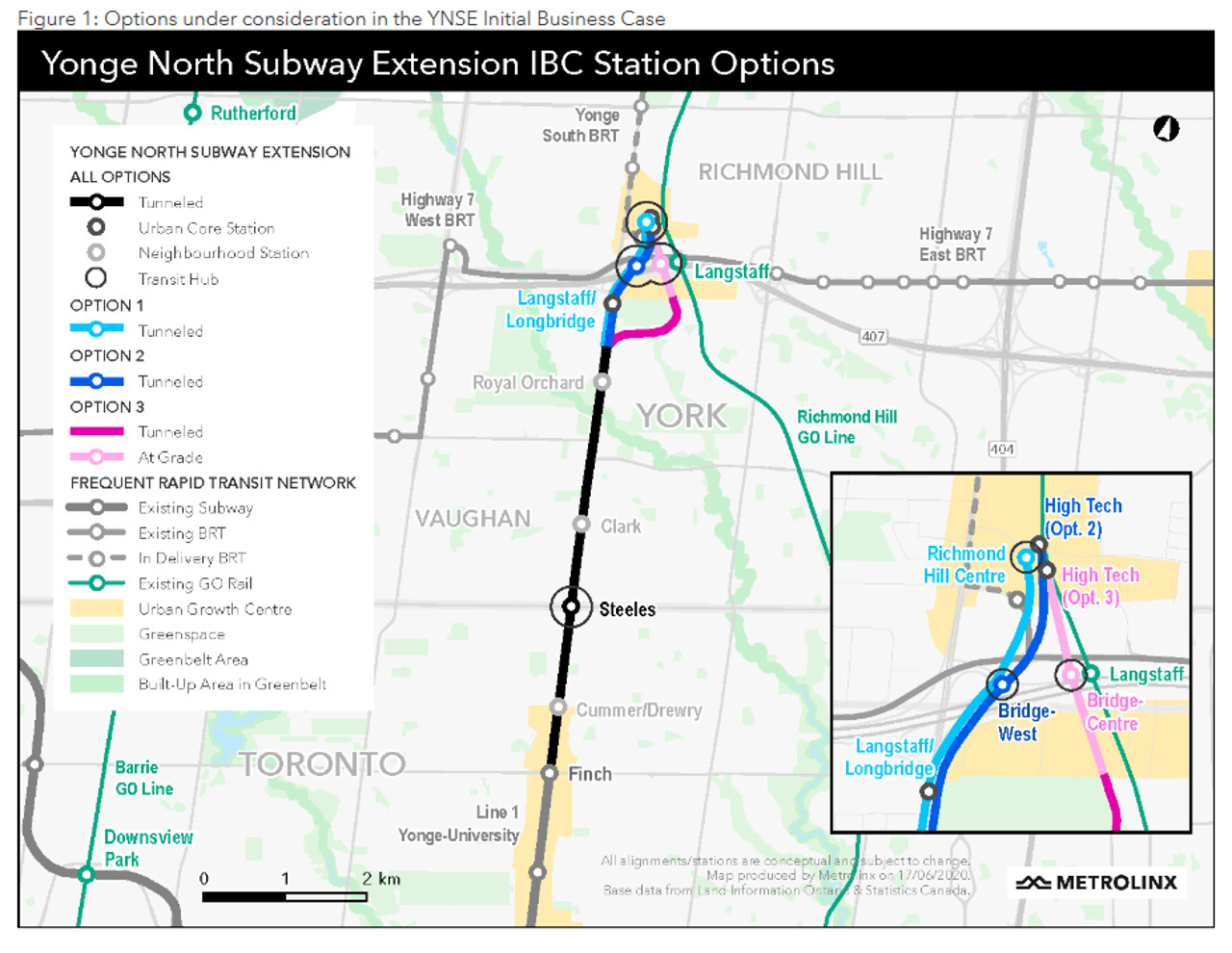 Map of three route options for the Yonge North subway extension